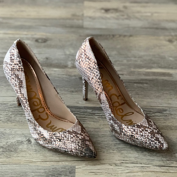 43cdb2a26320 Hazel Snake Print Rose Gold Pointy Toe Pumps. M 5c70c60a409c155c1dfc7972.  Other Shoes you may like. Sam Edelman